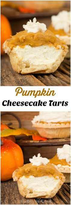 These tarts have a yummy cream cheese layer, topped with a pumpkin pudding layer, finished with a dollop of whipped cream!