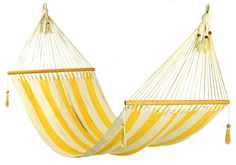 Stylish yellow and white stripes Hammock. $70.00 USD, via Etsy. WANT! also want a place to hang it...