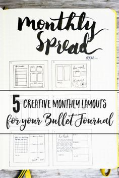 5 Creative Monthly Spread Layouts for your Bullet Journal