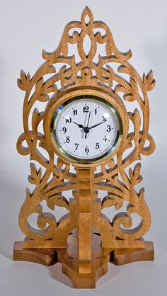 Scrollsawn Decorative Wood Clock by KoziKrafts on Etsy, $49.95