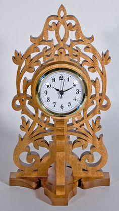 Scrollsawn Decorative Wood Clock by KoziKrafts on Etsy, $49.95