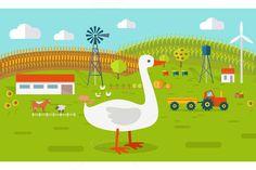 Goose on Farmyard by robuart on @creativemarket
