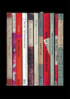 This is a print of The Jams 1980 album Sound Affects - if Paul Weller and the rest of the group had decided to become novelists, and the tracks had been written as books instead of songs.  Each book in this print corresponds to a track on that album, arranged in the order they appear on the original vinyl release. Theyre all based on those wonderful classic Penguin and Pelican paperback book designs.  The books, in track order, are: Pretty Green, Monday, But Im Different Now, Set The House…