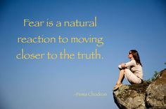 """Fear is a natural reaction to moving closer to the truth."" - Pema Chodron"