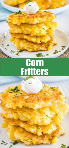 Corn Fritters - crispy little cakes with lots of fresh corn kernels, onions, and cheddar cheese. A sweet and savory side dish that is easy to make and great all year round!
