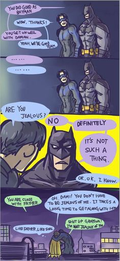 We all know Dick is the favorite. He's the glue that holds he Batfam together - Nightwing / Dick Grayson, Damian Wayne / Robin & Batman Nightwing, Batgirl, Tim Drake, Jason Todd, I Am Batman, Batman Robin, Funny Batman, Batman Facts, Gotham Batman