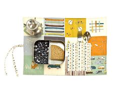Placemat for outdoor boys with canoe, camping, bear, fish. Travel placemat with cutlery pocket in organic cotton.