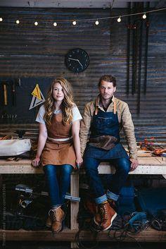 Portrait of wood workers in their art studio by Trinette Reed
