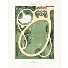 This is a chromolithograph plate for garden designs that dates to Purchased by us in Paris. This landscape desi. Garden Design Plans, Landscape Design Plans, Landscape Architecture Design, French Architecture, Small Garden Design, Architecture Diagrams, Architecture Portfolio, Backyard Landscaping, Landscaping With Rocks