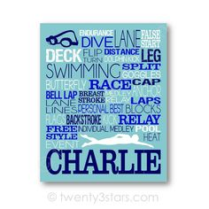 This art print or canvas would look great in any swimmers room. Makes a great gift to commemorate a good season, a senior year or as a graduation gift. Sports Team Discounts are available. Please send me a note! The colors above are just an example. I can do any colors or patterns you