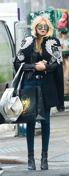 I want it all! The cape, the moto jacket, the sunnies, the boots! - Proof Gigi Hadid Is a Style Superhero