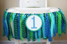 Whale/ Ocean/ Under the Sea/ Nautical themed rag tie 1st birthday banner for the highchair. Add a special touch to your party with this garland full of beautiful fabric.