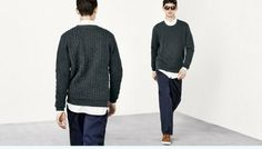 H&M Man Trend 'Spring Mix' S/S14 Lookbook Update. Textured Khaki Jumper White Shirt Leather Shoes Navy Pleated Trousers