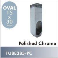 TUBE385-PC - Novara oval closet rod mounting flange in Polished Chrome finish. This unique flange mounts to the under-side of a closet shelf where wall mounting isn't practical. $5.50