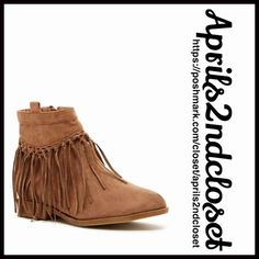 "BOHO FRINGE BOOTS Ankle Booties NEW WITH TAGS RETAIL PRIC: $98  BOHO FRINGE BOOTS Ankle Booties  * Side zip closure; Vegan faux suede leather  * Solid vamp w/fringe trim & eyelet details  * Rounded toe & chunky 1"" high block heels  * Top stitching details  * Approx 4.75"" high shaft & 9"" opening  * True to size   MATERIAL: Manmade upper/sole  COLOR: Taupe (looks light brown) ITEM #  No Trades ✅ Offers Considered*✅ *Please use the blue 'offer' button to submit an offer. Boutique Shoes Ankle…"