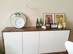 I wanted a modern, space saving, unique, floating credenza. Scoured the internet for some cool ideas and decided on the floating Akurum IKEA fauxdenza hack, aka Akurum kitchen cabinets. This IKEA hack