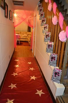"""do the """"pink carpet"""" with a table cloth---$1 verses the cost of fabric.  good idea!"""