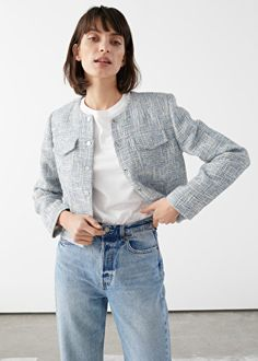 Other Stories' Parisian atelier showcases French girl looks with a bold new twist. Channel chic styles ranging from tweed jackets, puff-sleeve dresses and… Boucle Jacket, Tweed Jacket, Gray Jacket, Suits Korean, Tweed Suits, Tweed Fabric, Dress For Success, Fashion Story, My Wardrobe