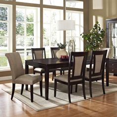 Dining Room Pendant Red Apple Fruit Plate Flower Vase Green Plant Wooden Dining Table Cream Leather Dining Chair Glass Window Curio Cabinet Grey Carpet Must-Have Dining Room Equipment