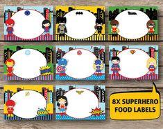 Superhero Supergirl Label Set of 4 Instant by RedAppleStudio Superhero Classroom, Superhero Party, Spiderman Batman Superman, Birthday Party Treats, School Themes, Supergirl, Tent, Place Cards, Handmade Gifts
