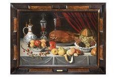 Jan Albert ROOTIUS (1615-1674)  Nature morte au canard rôti, coupes de fruits et verre façon de Venise  Toile.   Monogrammé sur le pichet et daté 16 (?)2.  (Restaurations anciennes).  62 x 90 cm