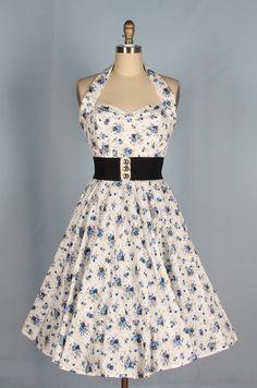 40s 50s  Floral Print Swing Halterneck Dress 82406