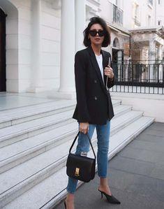 Streetstyle, wardrobe, classics, blazer, denim, outfit