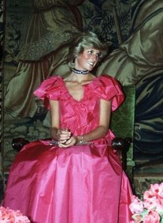 Princess Diana poised and in pink..While I loved Diana, I dislike this photo.  She looks skeletal here, she was not healthy.
