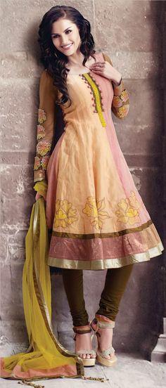 Pastel #Orange and #Pink #Cotton Readymade #Churidar Kameez @ $ 135.08