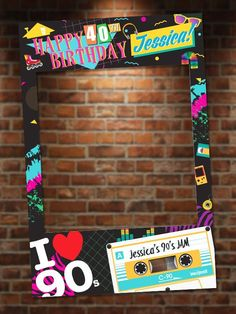 90 s theme photo booth party prop frame digital file only class of 2020 graduation custom step and repeat backdrop with photo 90s Theme Party Decorations, Adult Party Themes, Party Props, Party Ideas, 80s Birthday Parties, Music Themed Parties, Birthday Party Themes, 40th Birthday, 1990s Party Theme