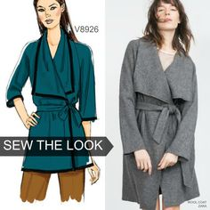 This wrap top pattern can work for a lightweight coat too. Look for thin double-faced wools. Sew the look with Vogue Patterns V8926.