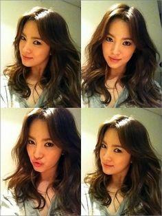Song Hye Kyo's Gorgeous Selcas Stuns Netizens Korean Beauty, Asian Beauty, Korean Haircut, Song Hye Kyo, Asian Celebrities, Curled Hairstyles, Medium Hairstyle, About Hair, Lorraine
