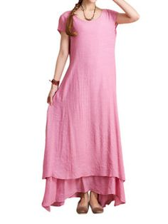 0595c921de44 Fitted O-Newe Vintage Solid Half Sleeve Fake Two-Piece Maxi Dress For Women