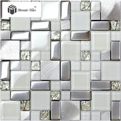 Super White Glass Glitter Mosaic Tile Metallic Kitchen Backsplash Design Fireplace Bathroom Shower Wall Ideas Hotel Luxury Deco(China (Mainland))