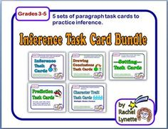 Inference Task Card Bundle: 5 Sets of Paragraph Cards $