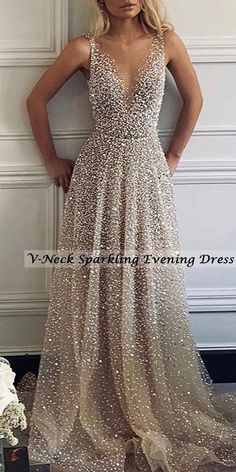 Sexy V-Neck Sparkling Evening Dress - Fashion evening &wedding dresses for women, good choice for party, beautiful design and plus size y - Evening Dresses Plus Size, Evening Dresses For Weddings, Grad Dresses, Evening Gowns, Bridesmaid Dresses, Wedding Dresses, Sparkly Bridesmaids, Evening Dresses With Sleeves, Evening Outfits