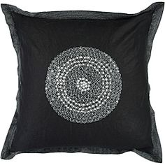 @Overstock - Jazz up any living space with this stunning, square, black decorative down pillow. Featuring a 100 percent cotton cover, this accent piece features a spectacular medallion design that is sure to be a pleasing focal point in any room.http://www.overstock.com/Home-Garden/Sharp-18-inch-Square-Down-Decorative-Pillow/6425737/product.html?CID=214117 $33.49