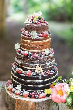 Rustic Wedding Cakes---chocolate wedding cake with fruits - Berry Wedding Cake, Wedding Cake Flavors, Wedding Cake Rustic, Woodland Wedding, Wedding Decor, Naked Wedding Cake With Fruit, Wedding Ideas, Wedding Ceremony, Forest Wedding