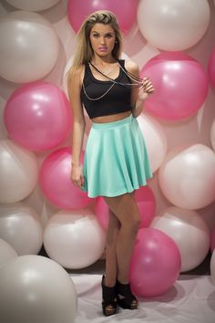 Black Crop Top  Mint Skater Skirt