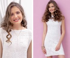 White dress with a pattern of squares