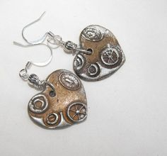 Bronze Steampunk Heart Earrings