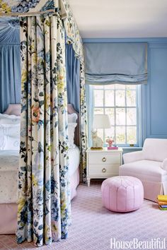 "For a girl's bedroom, designer Bailey McCarthy conjures a ""full-on princess fantasy"" with a bed canopy in a Designers Guild floral."