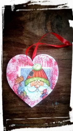 Christmas ornaments,Christmas decorations,Santa Claus and Polar Bear,One wooden heart,Christmas gift Christmas tree decoration, by MagdalenaMagic on Etsy