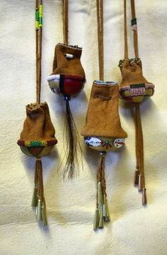 medicine bags - leather over gourds