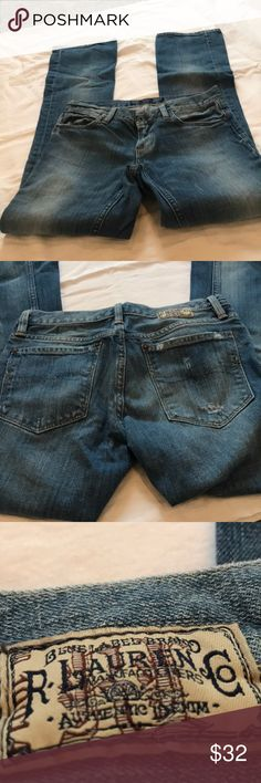 Ralph Lauren Sport Distressed Jeans 26 Great pair of jeans worn only a few times. These are intentionally distressed by the manufacturer. Ralph Lauren Sport Jeans