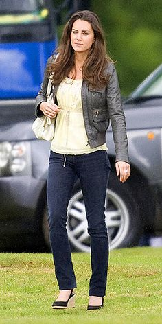 From People.com; I know everyone is just crazy about Pippa, but I much prefer Duchess Kate's style. Love that jacket and the edge it gives to the classic white top/jeans look.