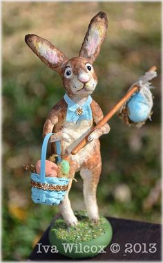 """Spun Cotton Easter Bunny Rabbit Victorian Folk Art by Iva Wilcox, of Iva's Creations. And he is just 5-1/2"""" tall! Look at that sweet face!"""
