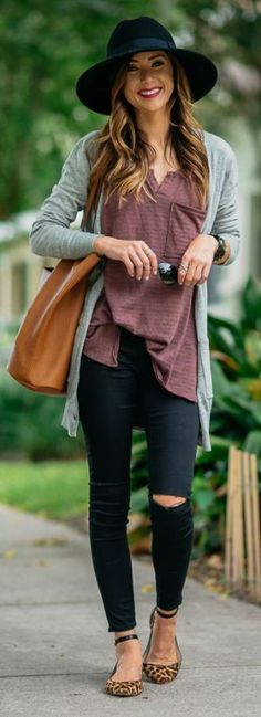 Best Fall Outfit : hat + grey cardi + top + bag + rips