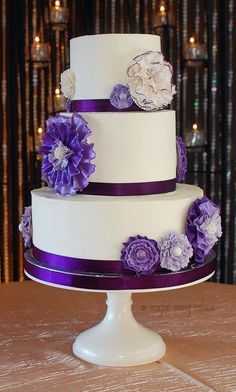 Purple Ruffle Flowers on Buttercream by lorieleann on Cake Central Ivory Wedding Cake, Round Wedding Cakes, Wedding Cake Stands, Wedding Cakes With Flowers, Beautiful Wedding Cakes, Gorgeous Cakes, Purple Wedding, Dream Wedding, Amazing Cakes