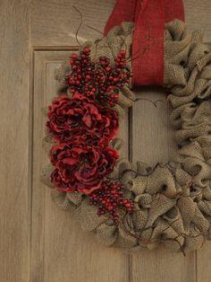 Christmas Burlap WreathChristmas Wreath with by WhimsyChicDesigns, on Etsy